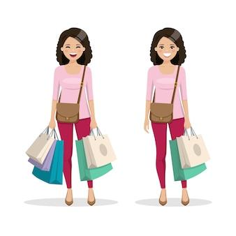 Frau mit braunem und lockigem haar mit einkaufstüten in zwei verschiedenen positionen