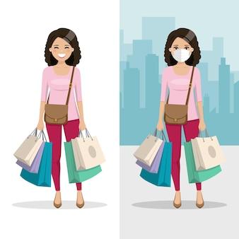 Frau mit braunem und lockigem haar mit vielen einkaufstüten mit maske und ohne maske