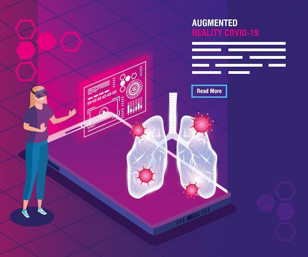 Frau mit brille virtuelle realität und smartphone, augmented reality, coronavirus covid-19 vektor-illustration design