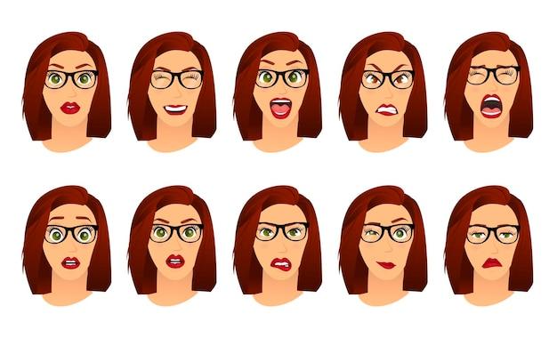 Frau mit brillengesichtsausdrücken gesten emotionen glück