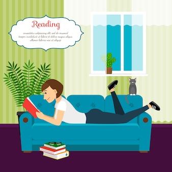 Frau mit buch auf sofa