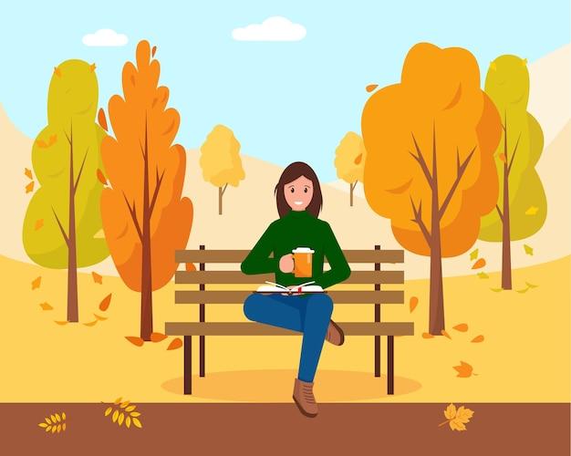 Frau mit buch und kappe des heißen kaffees oder des tees, die auf der bank im park sitzen. herbst stadtpark hintergrund. illustration.