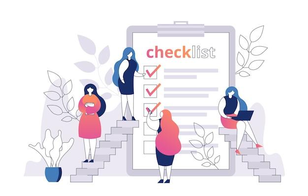 Frau mit checkliste auf papierblatt