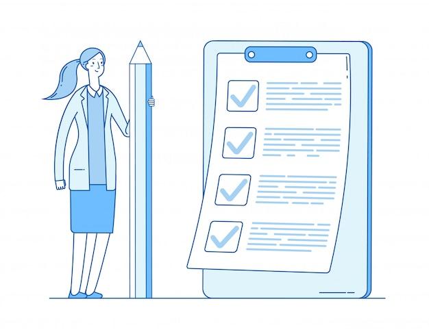 Frau mit checkliste. vollständige geschäftsliste. mädchen, das bleistift hält. erfolgreiches aufgabenhaken abgeschlossenes dokument markieren