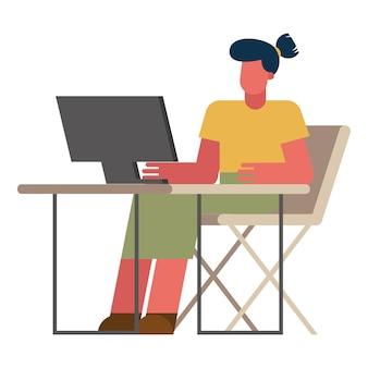 Frau mit computer am schreibtisch, der vom hauptentwurf des telearbeitsthemas vektorillustration arbeitet