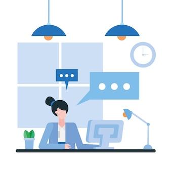 Frau mit computer am schreibtisch im bürodesign, in der belegschaft der geschäftsobjekte und im unternehmensthema