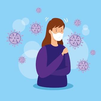 Frau mit covid 19 und atemschutz