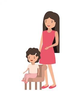 Frau mit dem baby, das auf stuhlavatarazeichen sitzt