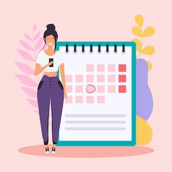 Frau mit dem telefon haben einen kalenderplan.