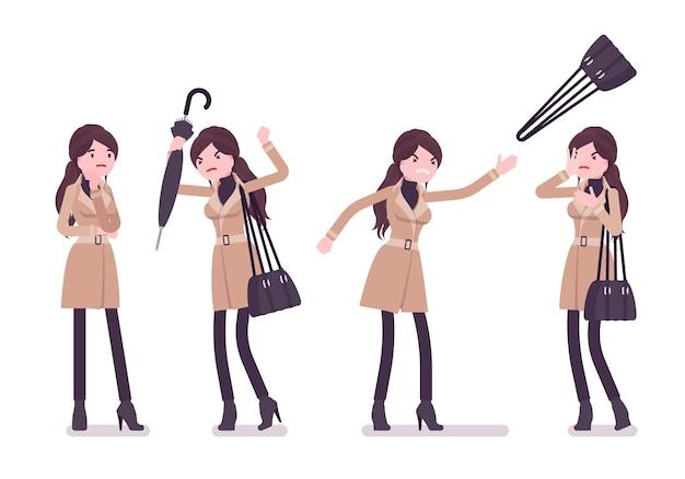 Frau mit den negativen emotionen des regenschirms, die herbstkleidungsillustration tragen