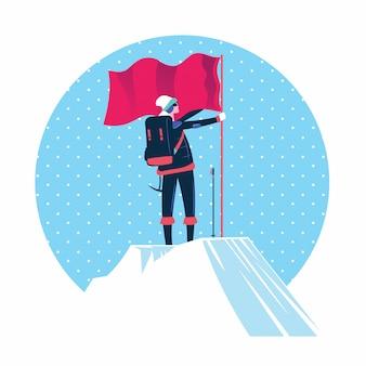 Frau mit der flagge, die auf die bergspitze steht
