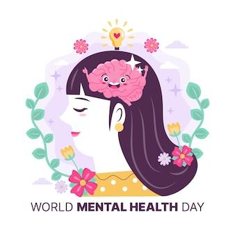 Frau mit der geistigen gesundheit der glücklichen gehirnwelt