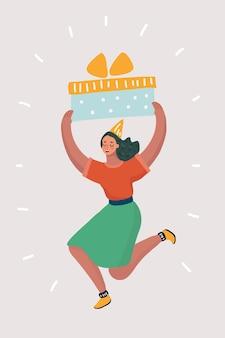 Frau mit der großen geschenkbox