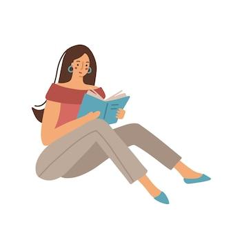 Frau mit dunklem haar, die ein buch liest