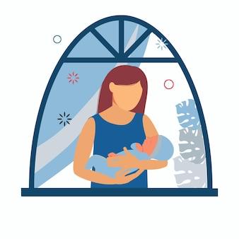 Frau mit einem baby in ihren armen nahe fenster mutterschaft und gestilltes kind.