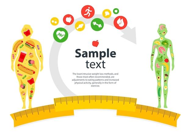 Frau mit einem fettleibigkeits-übergewichtsproblem fettes gesundheitswesen ungesundes lebensstilkonzeptdesign