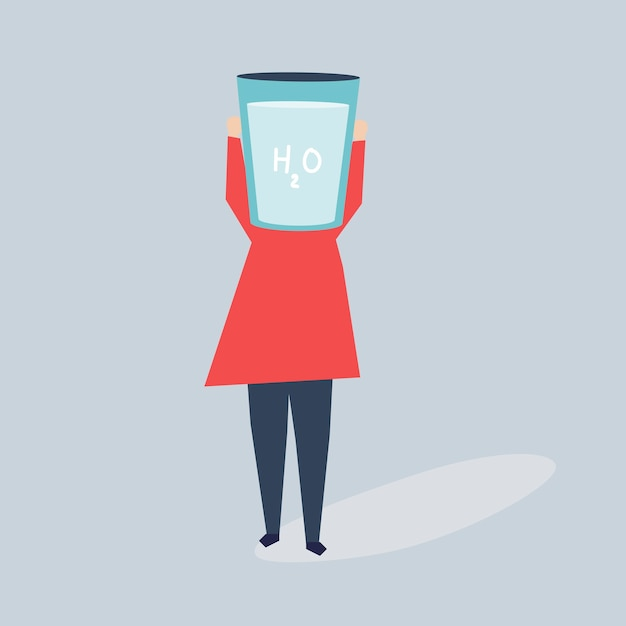 Frau mit einem glas wasser als kopfillustration