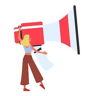 Frau mit einem großen megaphon. idee der nachricht und ankündigung. kommunikation mit dem kunden. illustration