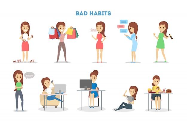 Frau mit einer schlechten angewohnheit eingestellt. alkohol- und kaffeesucht, junk food essen und spielen. ungesunder lebensstil und lebensgefahr. illustration