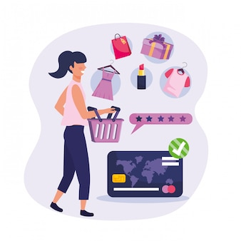 Frau mit einkaufskorb und kreditkarte, zum online zu kaufen