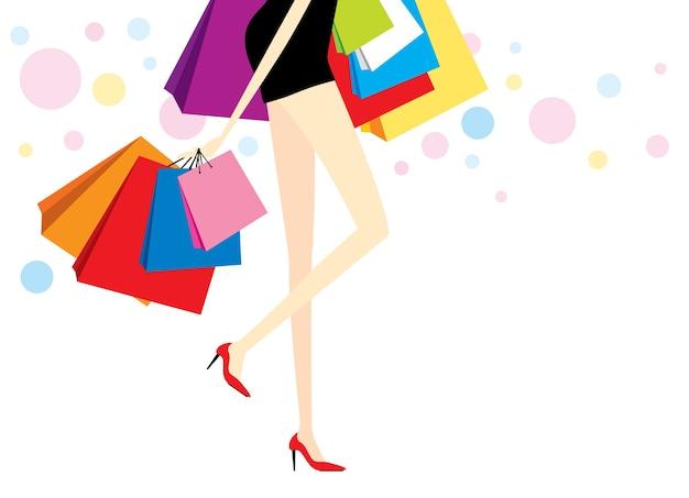 Frau mit einkaufstaschen auf weißem hintergrund