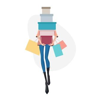Frau mit einkaufstüten. abbildung des einkaufskonzepts.