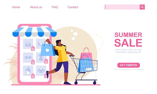Frau mit einkaufswagen und taschen kaufen im online-shop ein. handy-shop im hintergrund. online-shopping-konzept illustration