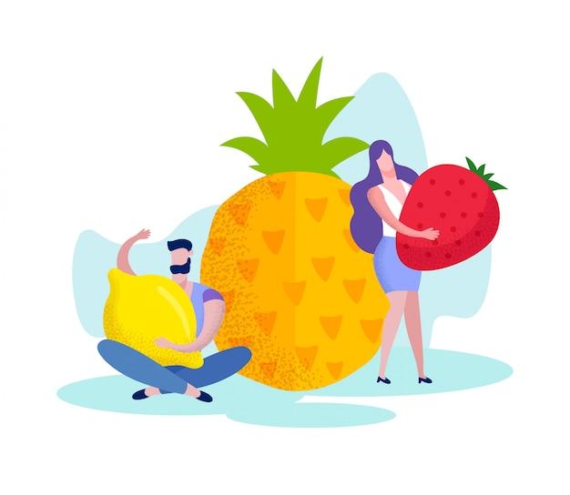 Frau mit erdbeeren und mann mit zitrone.