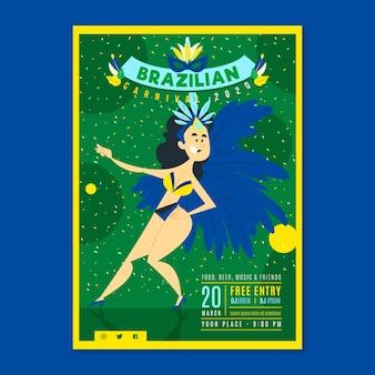Frau mit federkostüm handgezeichneten brasilianischen karneval party flyer
