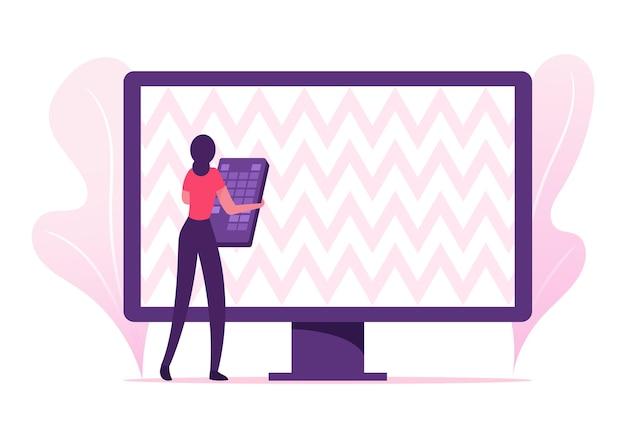 Frau mit fernbedienung, die versucht, fernsehprogramme einzurichten. karikatur flache illustration