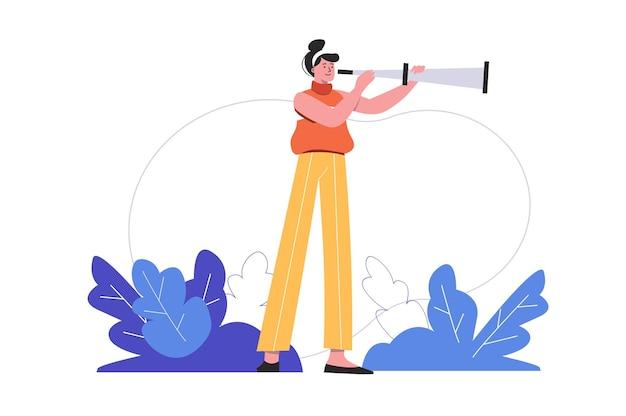 Frau mit fernglas, die nach möglichkeiten sucht. karriereentwicklung und erfolgreiche geschäftsleuteszene isoliert. stellensuche und personalkonzept. vektorillustration in flachem minimalem design