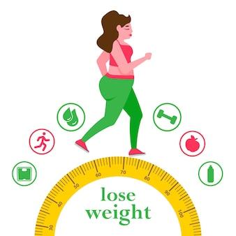 Frau mit fettleibigkeit übergewichtsproblem fett gesundheitswesen ungesunde lebensweise
