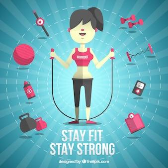 Frau mit fitness-elementen