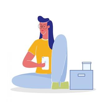 Frau mit flacher vektor-illustration smartphones