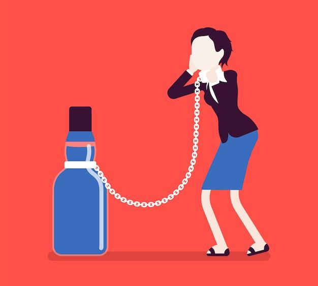 Frau mit flasche in alkoholabhängigkeit