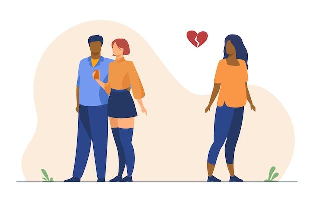 Frau mit gebrochenem herzen. mädchen beobachtet ex-freund aus neuer freundin. karikaturillustration