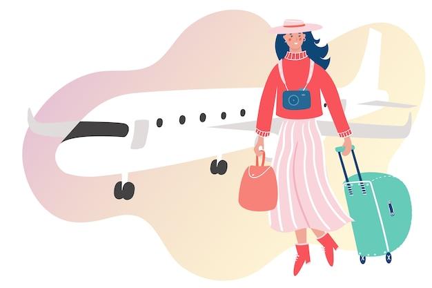 Frau mit gepäck, das mit dem flugzeug reist. mädchen, das auf abstraktem hintergrund in den urlaub geht.