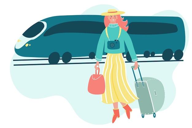 Frau mit gepäck, das mit dem zug reist. mädchen, das auf abstraktem hintergrund in den urlaub geht.