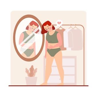 Frau mit geringem selbstwertgefühl, die in den spiegel schaut