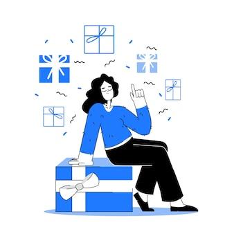 Frau mit geschenken. hand gezeichnetes mädchen in blautönen