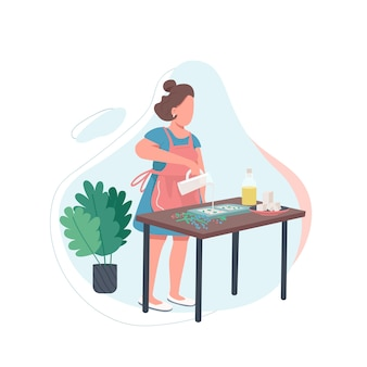 Frau mit geschmolzener seife flacher farbe gesichtsloser charakter. diy rezept. handgemachtes kosmetisches produkt. kreative erholung. handwerker isolierte karikaturillustration für webgrafikdesign und -animation