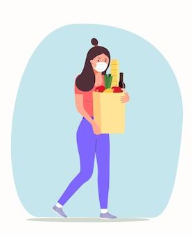 Frau mit gesichtsmaske, die einkaufstüten hält. vektorgrafik im flachen stil.