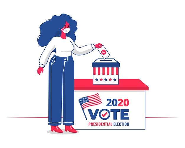 Frau mit gesichtsmaske, die in einer wahlurne für präsidentschaftswahlen 2020 usa mit flachem design abstimmt