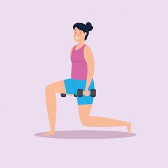 Frau mit gewichten im hausvektorillustrationsentwurf