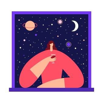 Frau mit glas wein im fenster, das den blick auf den sternenhimmel und den mond der nacht genießt. flache illustration.