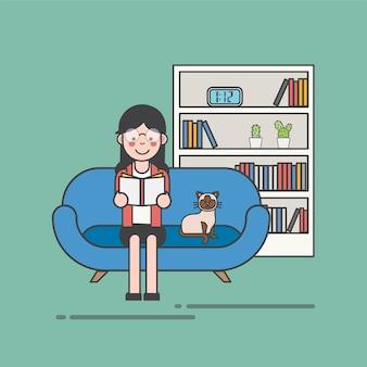 Frau mit Gläsern ein Buch auf dem Couchvektor lesend