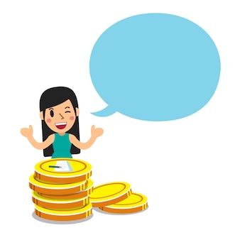 Frau mit großem münzenstapel und spracheblase