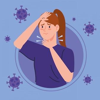 Frau mit halsschmerzen krank von coronavirus 2019 ncov
