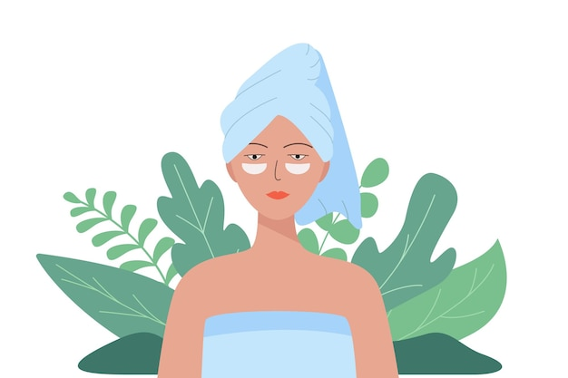Frau mit handtuch auf dem kopf und kosmetischen flecken im gesicht. vektor-illustration des konzepts der schönheit, hygiene. natürlicher hintergrund.
