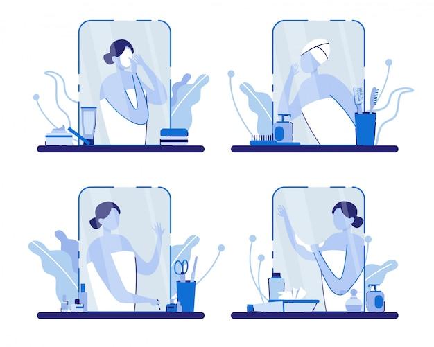 Frau mit handtuch in der nähe von spiegel mit zubehör.